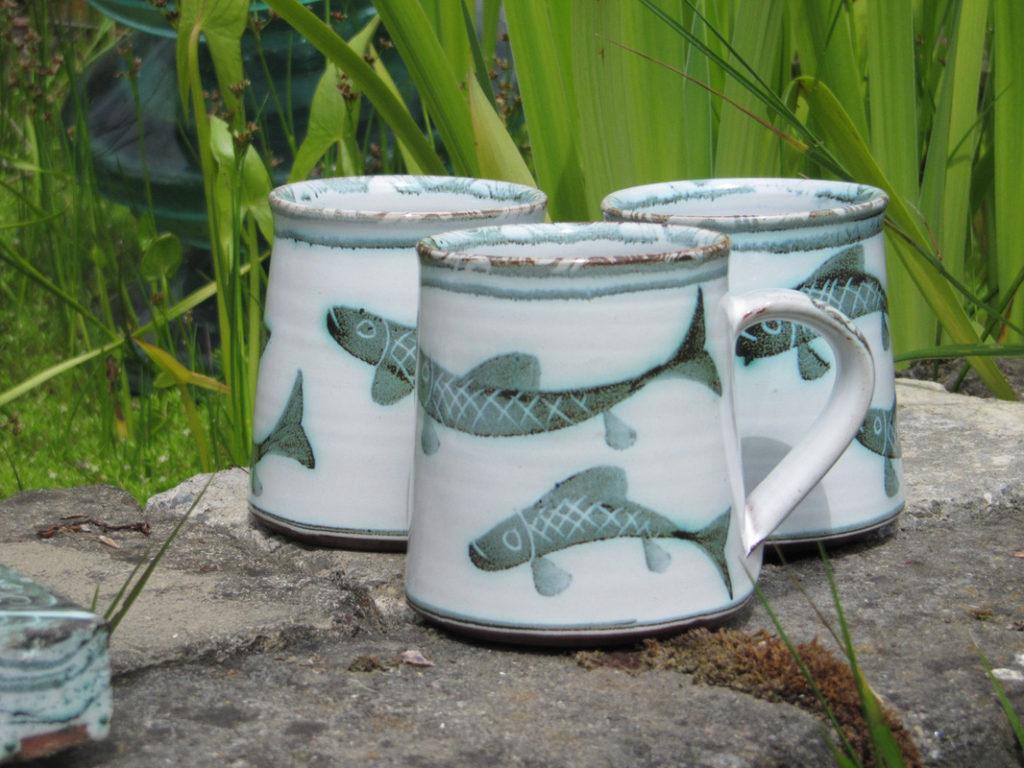 Fish Motif Mugs The Bridge Pottery