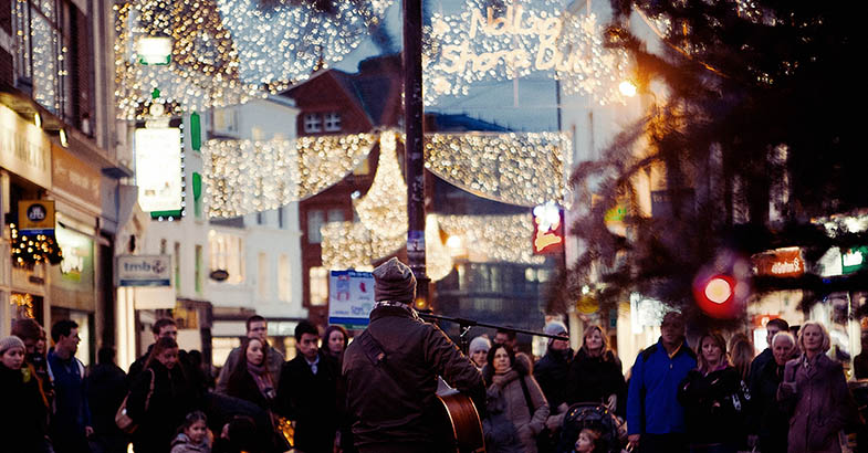 Busking on Grafton Street in Dublin at Christmas time